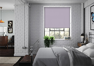 Lilac soundproof blinds in a bedroom