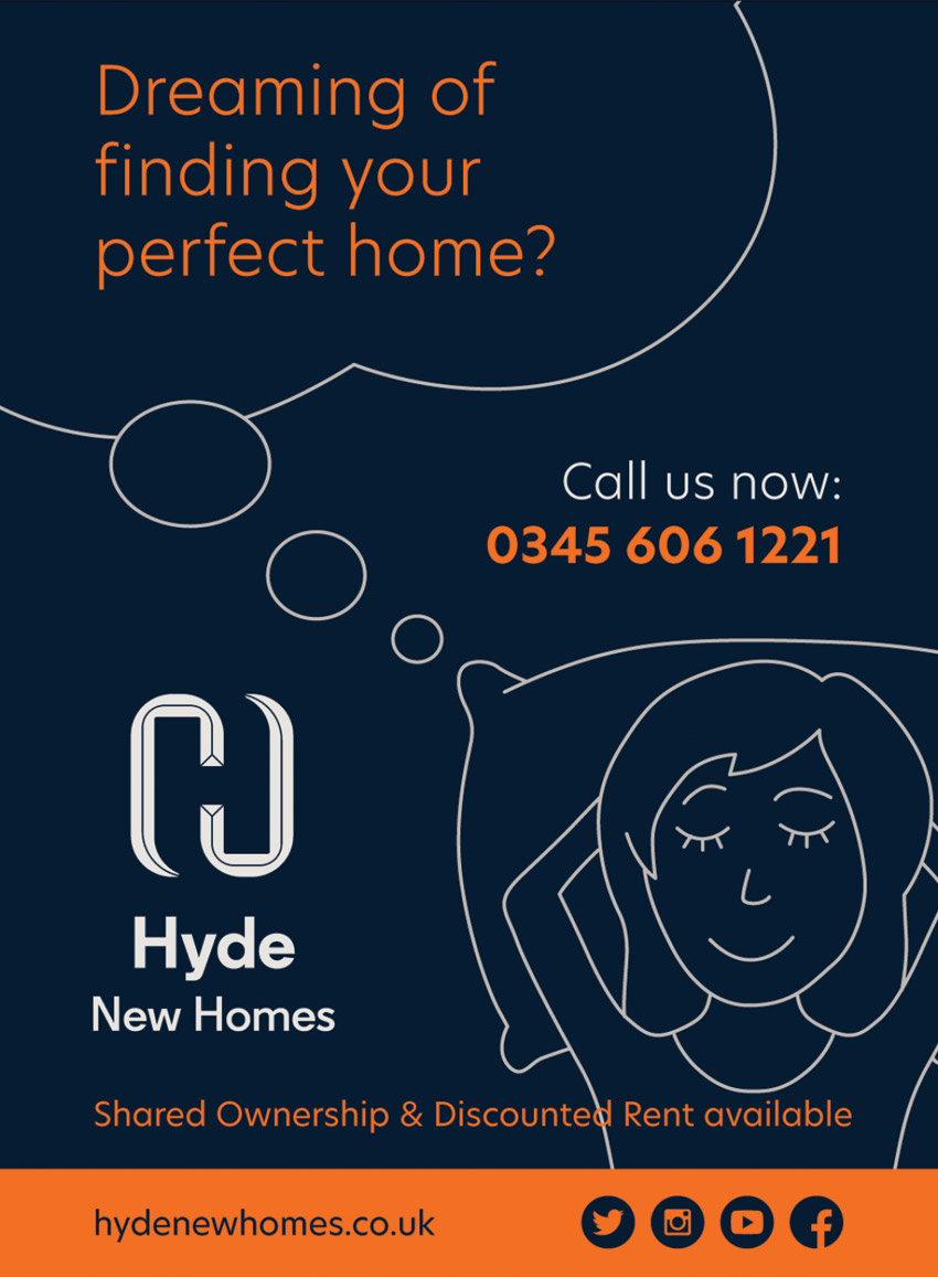 Hyde New Homes navy and orange advert