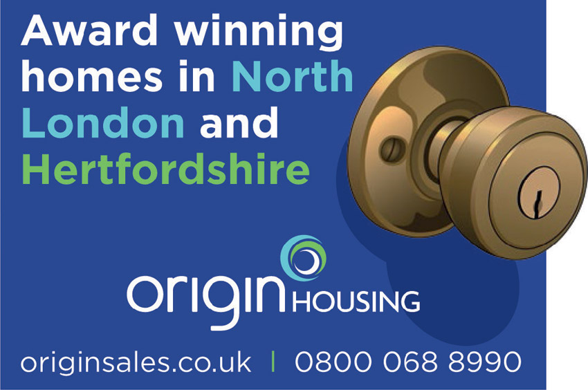 Blue advert with door handle advertising Origin housing homes in London