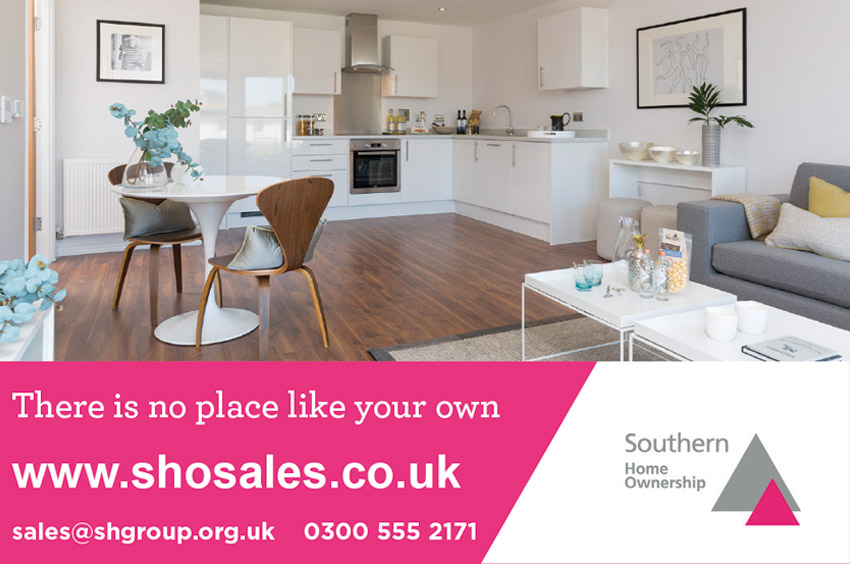 Advert showing the inside of a Southern Home Ownership house - pink and grey