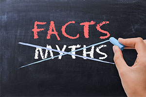 Mortgage myths crossed out on blackboard