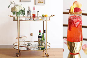 Cocktails on a bar cart