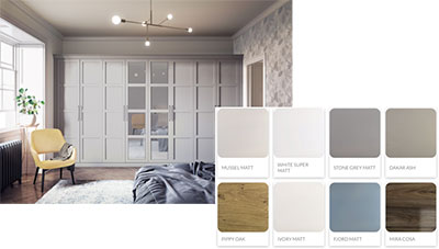 My Fitted Bedroom colour chart for Elise range