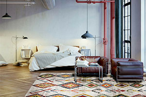 Colourful bedroom rug